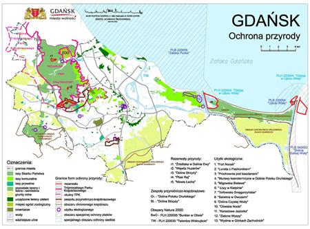 Gdańsk - mapa terenów zielonych