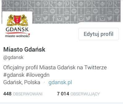 7 tys followersów Twittera Gdańska