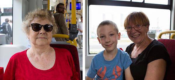 Jednymi z pierwszych pasażerów byli pani Barbara Piećko (z lewej) oraz pani Ewa z kilkuletnim wnukiem Maksiem