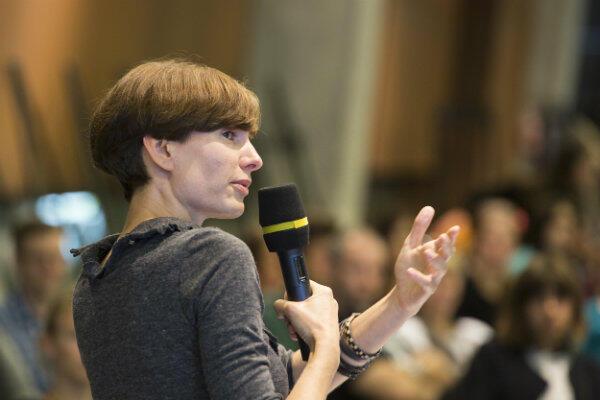 Marta Siciarek, szefowa CWII, podczas spotkania w ECS.