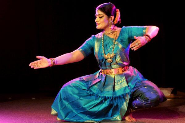 Geeta Chandran, tancerka klasycznego tańca indyjskiego, podczas pokazów na Politechnice Gdańskiej.