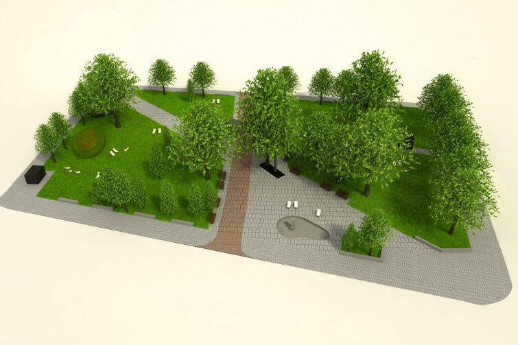 Tak skwer ma wyglądać w przyszłości (widok od ul. Szerokiej). Ciemne płyty wskazują jak biegła dawna ul. Księża. Pomnik księcia Świętopełka będzie stał na lewo od niej - tutaj niewidoczny, bo zasłonięty przez drzewo.