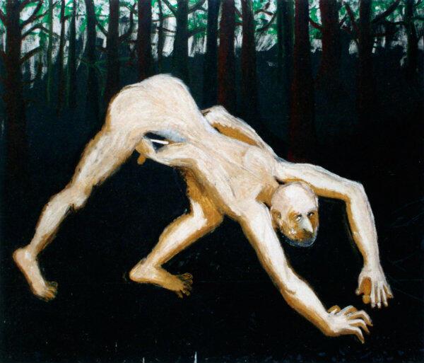 """Obraz Marka Sobczyka """"Bruno Schulz obcina i zakopuje penisa w jamce"""" znajduje się w zbiorach Muzeum Sztuki Nowoczesnej w Warszawie."""