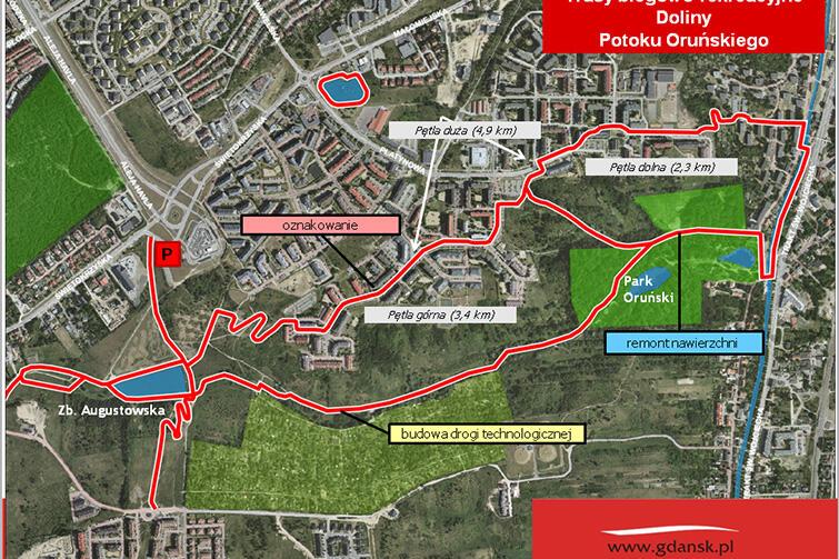 Tak będzie wyglądała trasa do biegania w Dolinie Potoku Oruńskiego.