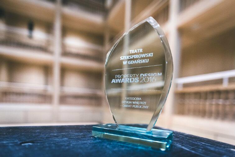Gala Property Design Awards 2016 okazała się szczęśliwa dla Teatru Szekspirowskiego w Gdańsku, który zwyciężył w kategorii Design Wnętrze - Obiekt Publiczny.