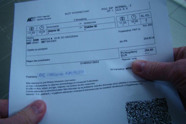 Bilet pana Marka z zasłoniętym imieniem i nazwiskiem