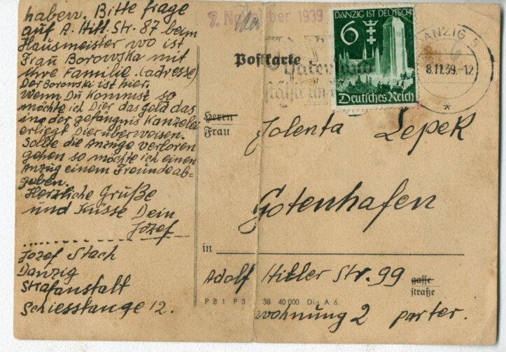 Kartka pocztowa z gdańskiego więzienia od Józefa Stacha, wysłana niedługo przed jego śmiercią w Piaśnicy