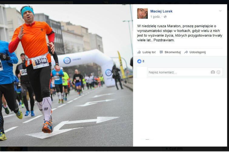Zawodnicy proszą kierowców o wyrozumiałość. Do maratonu zgłosio się 2012 biegaczy w każdym wieku i każdej profesji, jak np. Maciej Lorek, dyrektor Wydziału Środowiska Urzędu Miejskiego w Gdańsku