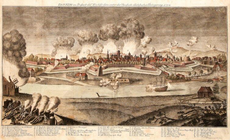 Oblężenie Gdańska przez wojska rosyjskie i saskie w roku 1734. Rycina Georga Paula Buscha z 1735 r.