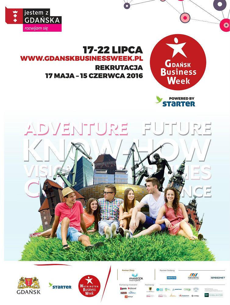 Plakat zachęcający do wzięcia udziału w Gdańsk Business Week.