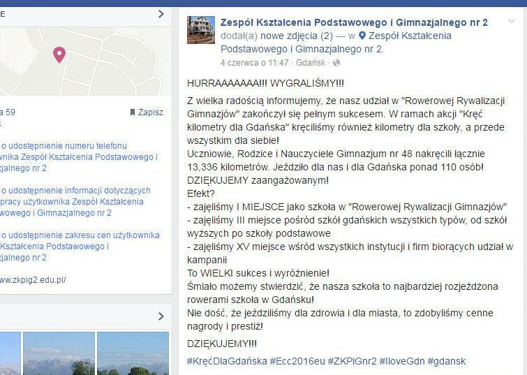 HURRA! WYGRALIŚMY! Cieszy się społeczność Gimnazjum nr 48 w Gdańsku.