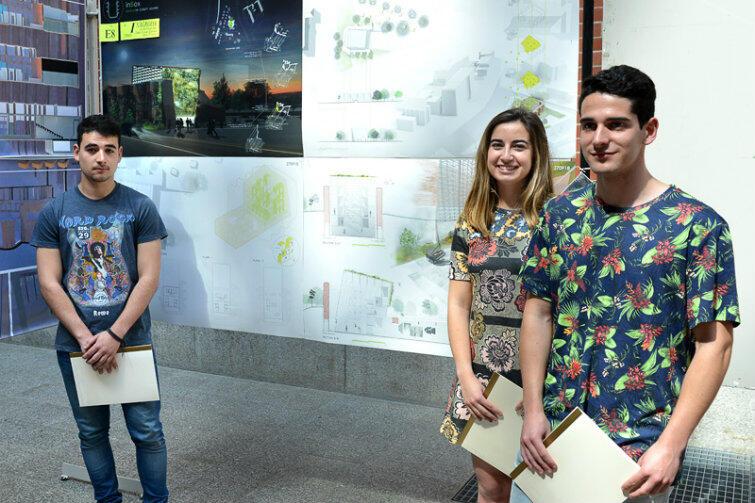 Autorzy najlepszej koncepcji przebudowy Bastionu św. Elżbiety (od l.): Pablo Ucendo Exposito, Amaia Renteria Sanchez i Joseba Gordo Soto.