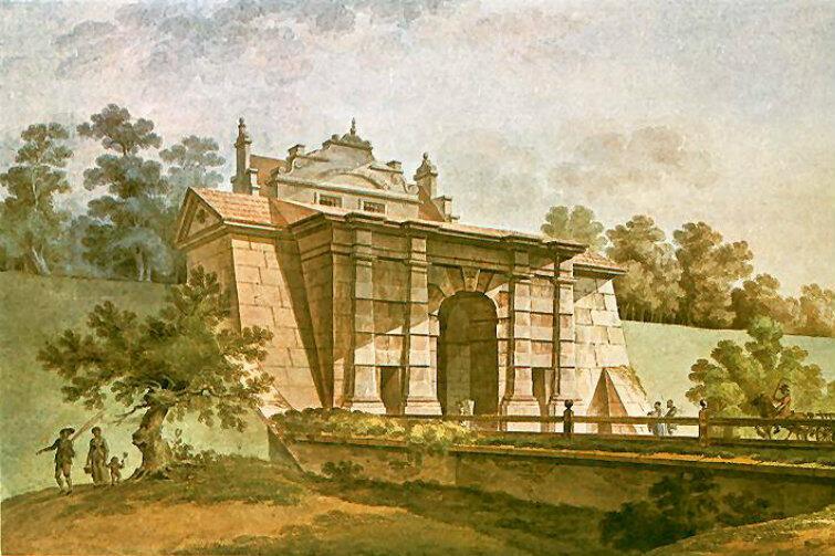 Brama Nizinna ok. roku 1800. Widok od strony Olszynki i Oruni.