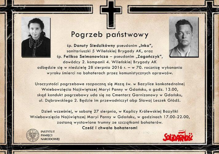 Inka i Zagończyk. Oficjalnie zaproszenie na ich pogrzeb, na który czekali od 1946 roku.
