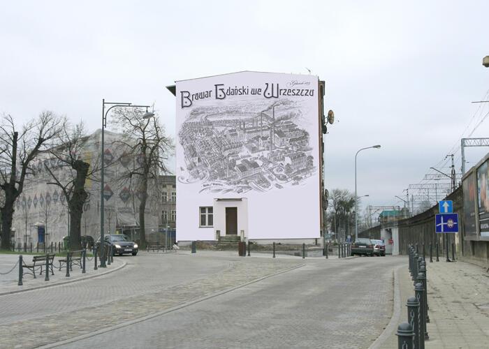 Mural przedstawia historyczne założenie urbanistyczne Browaru we Wrzeszczu