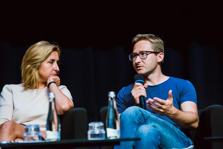 Debata w ECS otwierająca Gdański Tydzień Demokracji. Na zdjęciu Dominika Wielowieyska (Gazeta Wyborcza) i Sławomir Sierakowski (Krytyka Polityczna).