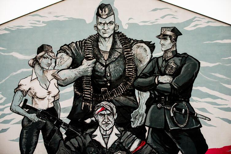 Wyklęci jak z komiksu, wojna jako atrakcja da młodzieży. Mural Rafała Roskowińskiego w Gdańsku Oruni.
