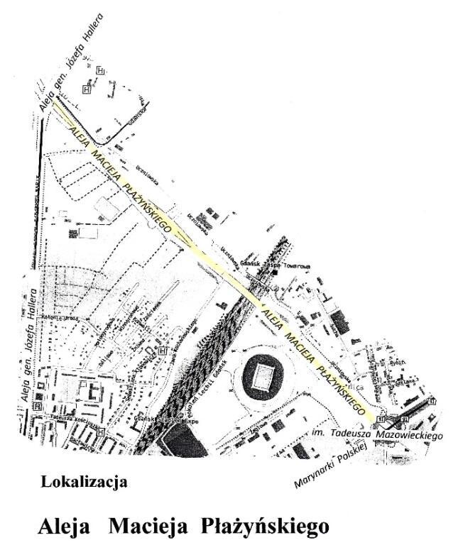 Lokalizacja alei Macieja Płażyńskiego.