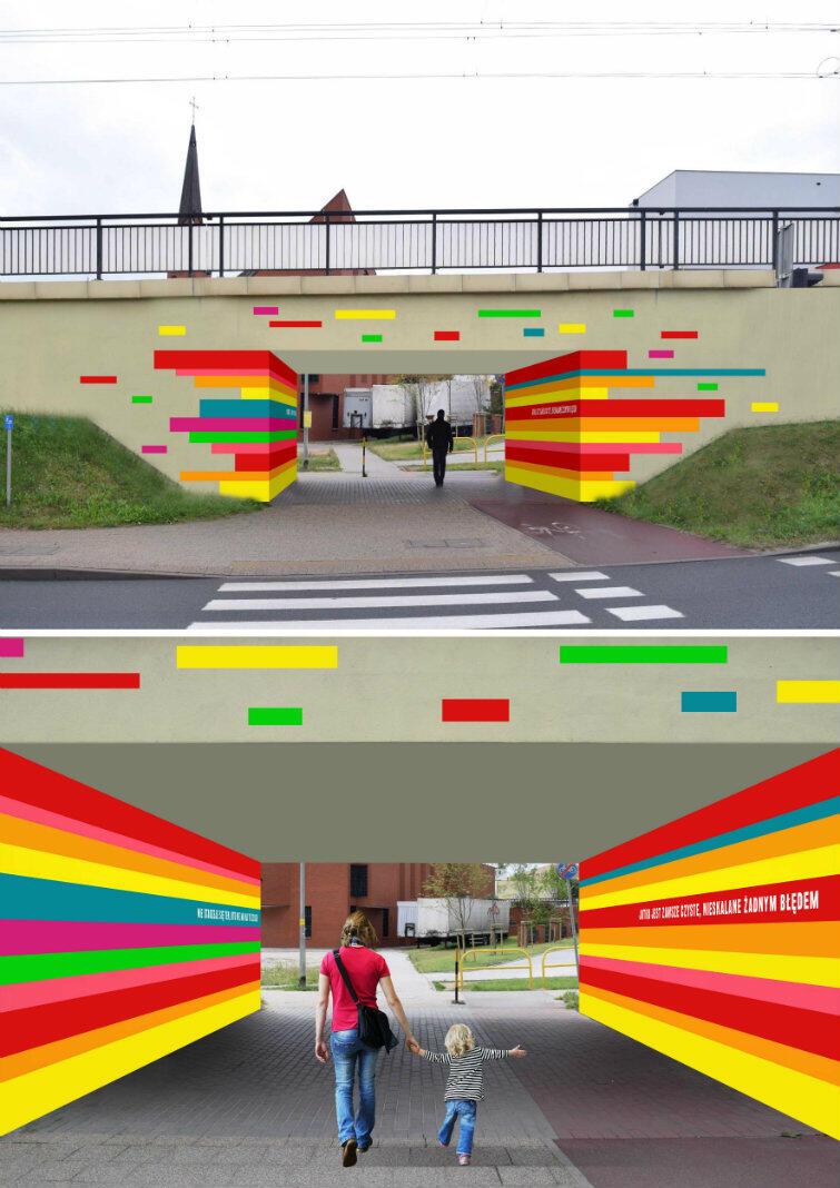 Tak by wyglądał tunel dla pieszych na Chełmie, gdyby pierwsze miejsce w konkursie zdobył Dawid Celek z Wrocławia
