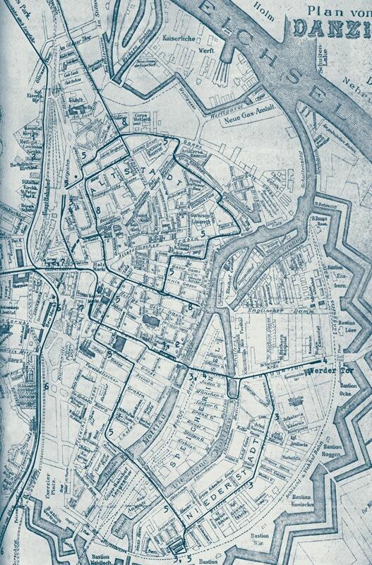 Centrum Gdańska, plan z 1903 roku z zaznaczonymi istniejącymi wtedy liniami tramwajowymi