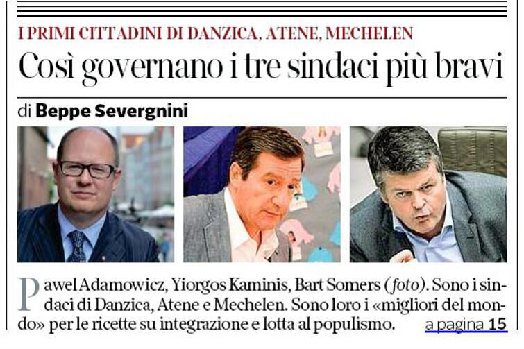 Prezydent Paweł Adamowicz na pierwszej stronie czołowego włoskiego dziennika