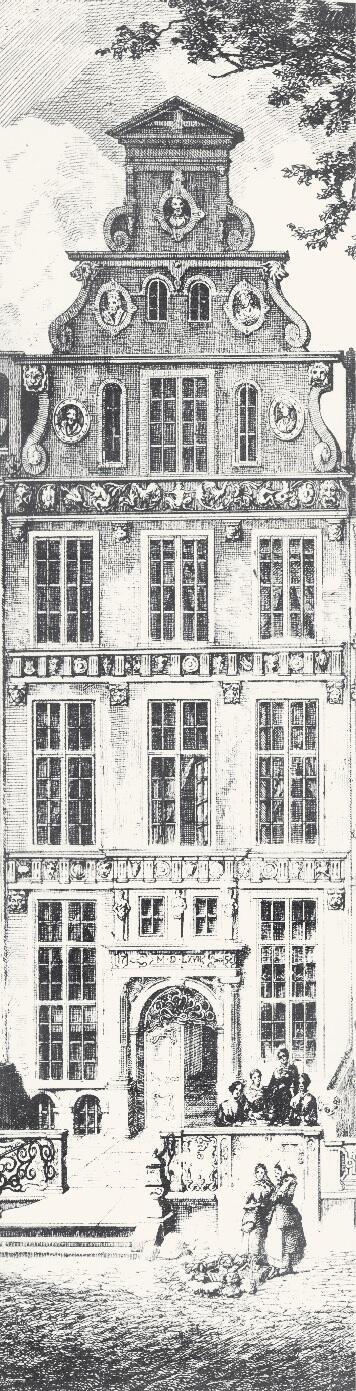 Od frontu większość kamienic jest szeroka na trzy okna, fragment ryciny J. C. Schultza