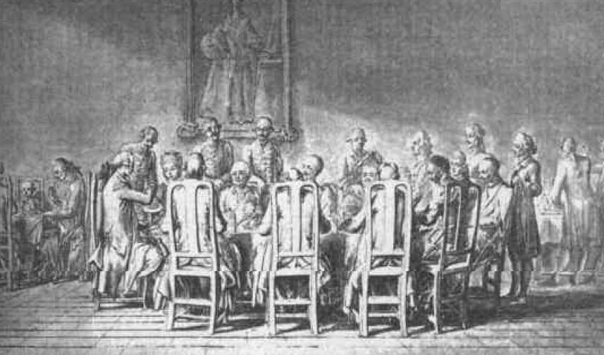 Obiad u prymasa Podoskiego, rysunek Daniela Chodowieckiego, 1773