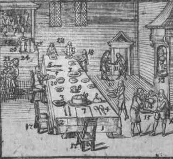 Podawanie do stołu, rysunek z atlasu Jana Amosa Komensky'ego