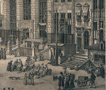 Uliczne lampy olejowe zawieszane były, między innymi, na specjalnych słupach (widoczny pośrodku); fragment ryciny I. Bergmanna z 1833 roku