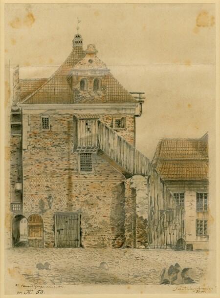 Dozorcy i stróże latarniowi mieli swoją bazę w Baszcie Kotwiczników, gdzie był też magazyn oleju; rysunek Wilhelma E. Gregoroviusa, 1843