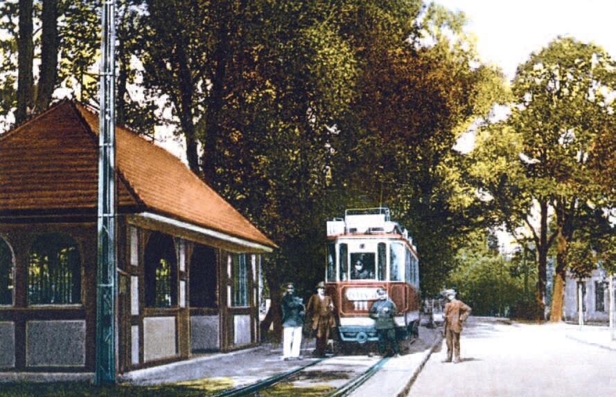 Przystanek końcowy w Jelitkowie w pierwszych latach funkcjonowania linii tramwajowej; obok tramwaju widoczny budynek poczekalni