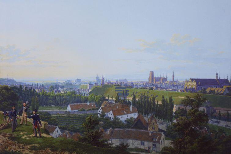 Sztuka rysunku to także barwne akwarele. Tu widok Gdańska z Biskupiej Górki (1829 r.)