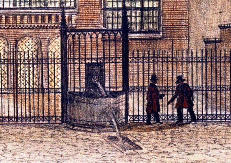Zdrój wodny na tyłach Dworu Artusa na ilustracji G.F. Gregoroviusa z 1844 r., nowy będzie bardzo zbliżony do oryginału