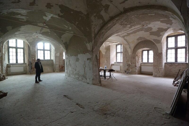 Komora Palowa w Ratuszu Głównego Miasta Gdańska podczas remontu, powstanie tu sala wystaw czasowych MHMG