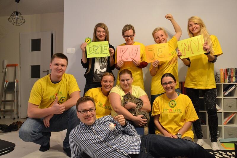 Kocia ekipa dziękuje za poparcie dla projektu rozbudowy Promyka w ramach BO, na pierwszym planie Bartosz Wosztal