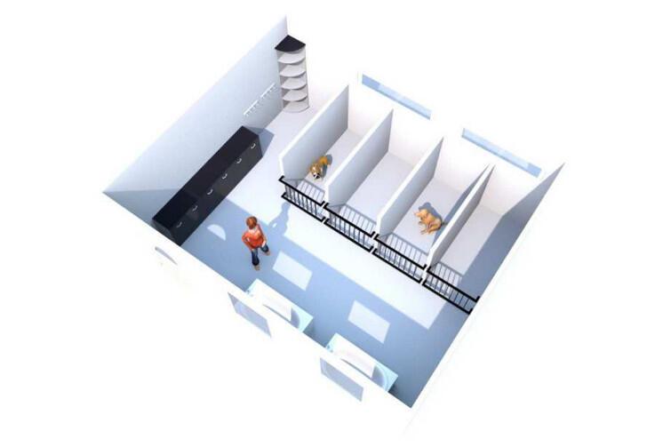 Wizualizacja punktu rehabilitacyjnego z myjnią
