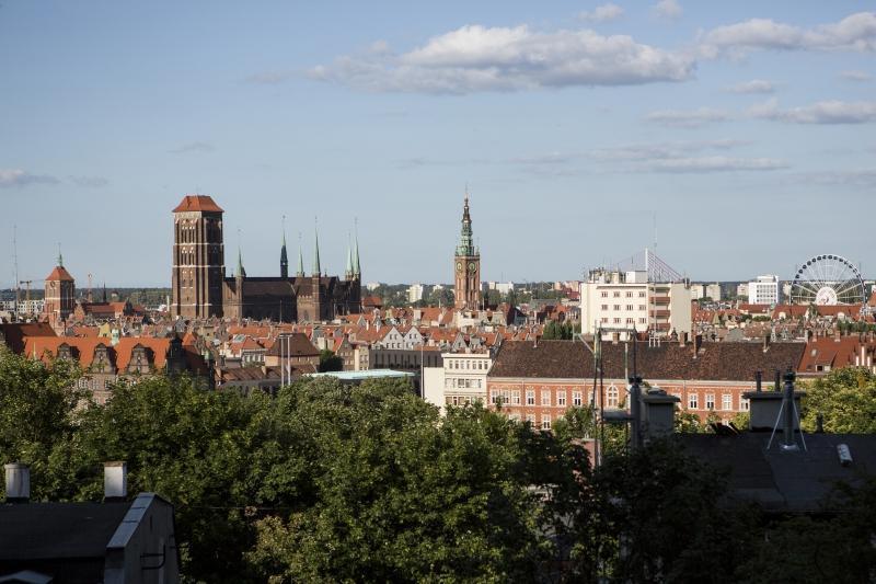 Panorama Głównego Miasta i Starego Przedmieścia w Gdańsku. Widok z Biskupiej Górki