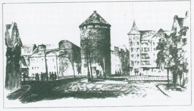 Na tym rysunku pokazano, w jaki sposób Brama Stągwi Mlecznych przeszkadza w usprawnieniu ciągu komunikacyjnego z mostu na ul. Stągiewną