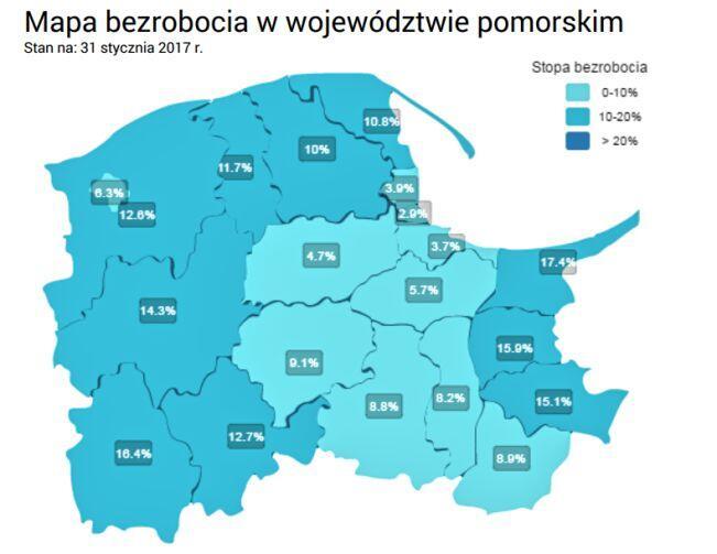 Stopa bezrobocia w woj. pomorskim w styczniu 2017 r.