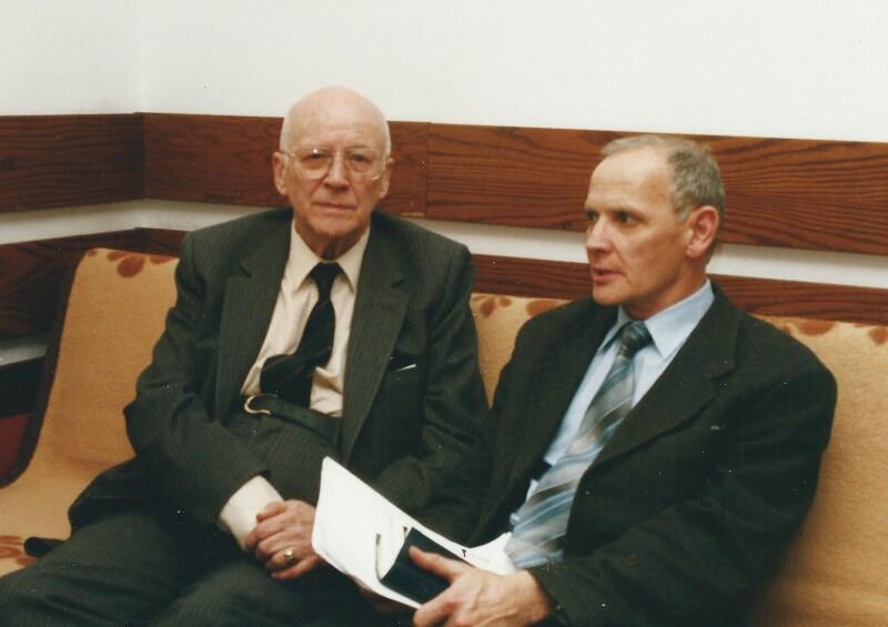 Z Janem Nowakiem-Jeziorańskim w hotelu sejmowym; ostatnie lata XX wieku