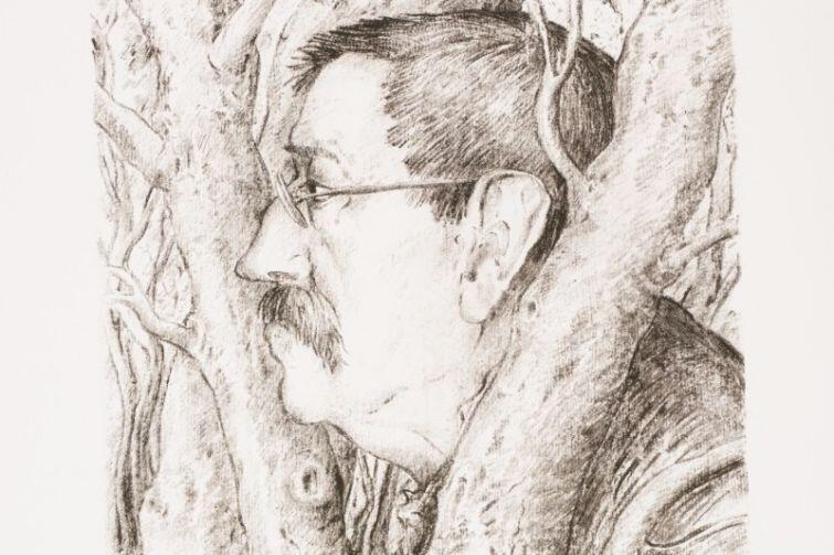 Litografia Güntera Grassa pt. Samotny w lesie