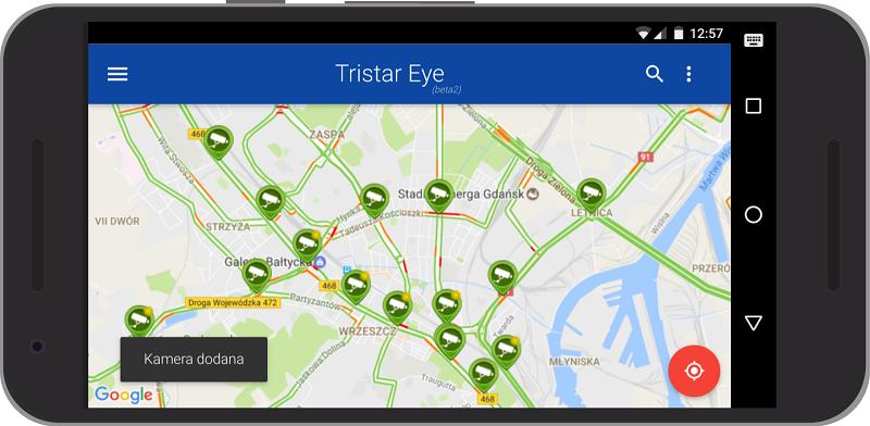Główny widok aplikacji Tristar Eye, bezpośrednio z tego poziomu można podejrzeć dowolną kamerę systemu Tristar