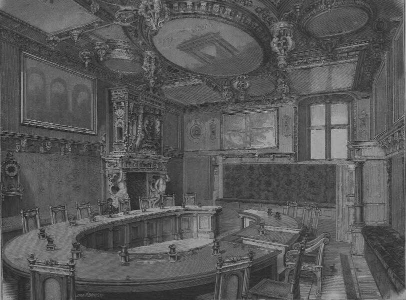 Sala główna posiedzeń w ratuszu gdańskim, rysował Podbielski