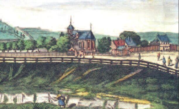 Kościół Bożego Ciała był miejscem aktywnej działalności reformacyjnych kaznodziejów, rycina Willera, a więc z drugiej połowy XVII wieku