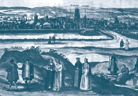 Widok Gdańska z 1573 roku, rycina Hogenberga