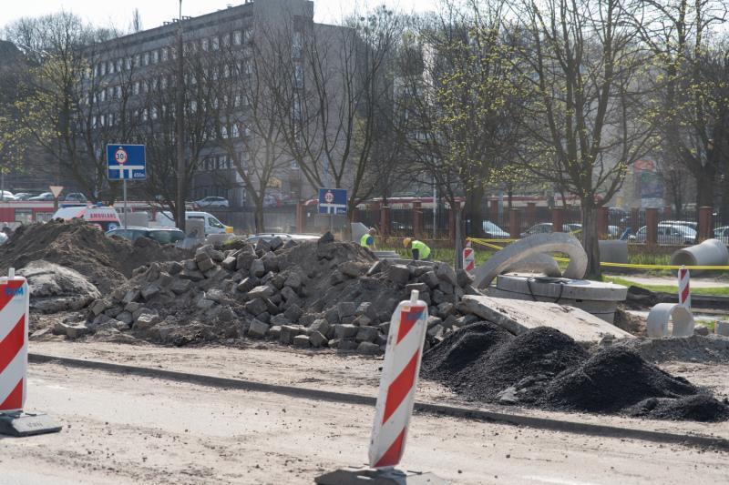 Przebudowa ul. 3 Maja, stan z połowy kwietnia 2017 r.