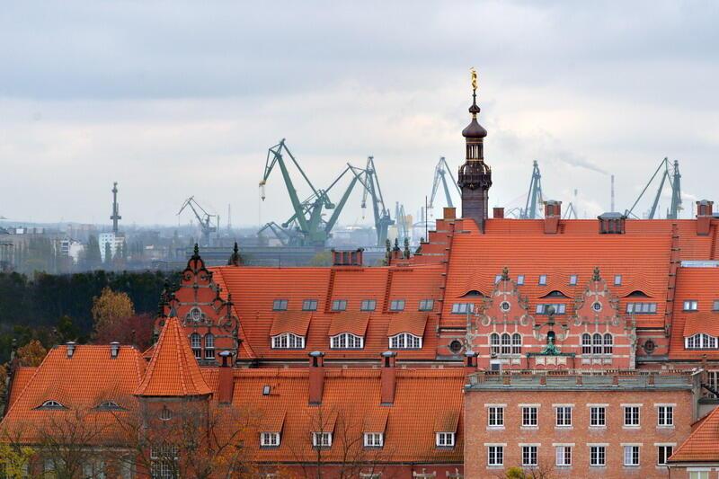 Żurawie portowe w tle budynków Politechniki Gdańskiej. Potrzeby gospodarki morskiej były jednym z powodów powstania wyższej uczelni technicznej w Gdańsku