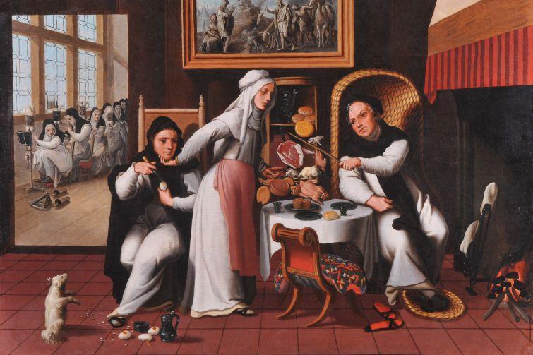 Pieter Aertsen (ok.1508/9-ok.1575), Scena w klasztorze, ok. 1530-1540, tempera, deska, 65 x 90 cm.