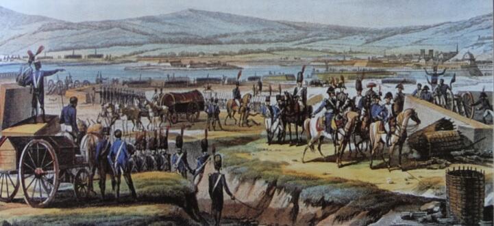 Napoleon wizytujący szańce, fragment ryciny F. J. Dequevauvillersa według E. Swebacka