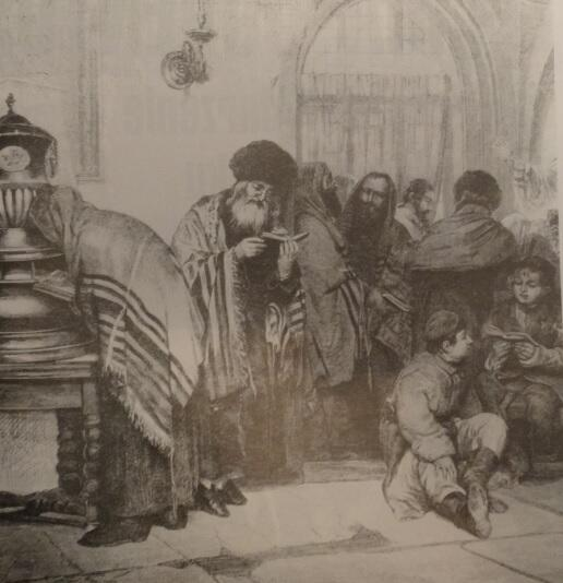 W gdańskiej synagodze, rysunek W. Stryowskiego, 1869